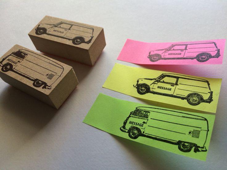 The stamp on sticky.  #carstamp #studiomahoya #mini