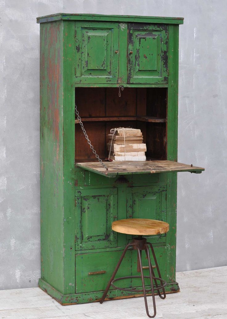 Rustic Vintage Bureau Tall Cabinet Original Green Paintwork. A complete one off this unusual cabinet has a drop down bureau desk surface.