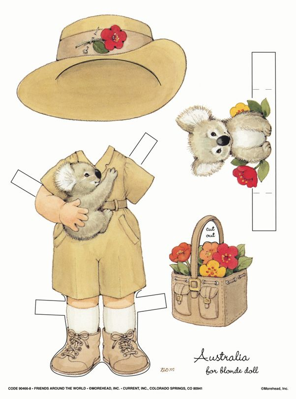Free printable Australian outfits for DIY paper dolls! (Just print the outfit and the doll on cardstock and cut out).