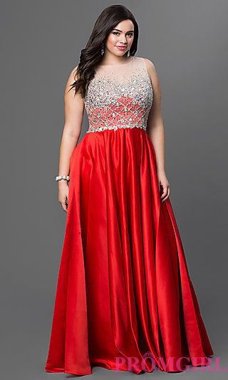 Satin Floor Length Red Plus Size Dress with Embellished Sheer Bodice at PromGirl.com