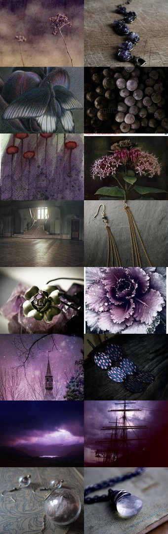 MORNING GIRLS ♥ What an absolutely Stunning board for Jan yesterday! It turned out SO pretty ♥ I'm going to making a board of it on my newest profile. Thank you, Jan xo. TODAY, I POURED OVER MANY COLLAGES and MOOD BOARDS BUT KEPT COMING BACK TO THIS ONE....SO LET'S PIN THESE SHADES OF PURPLE, AUBERGINE, a BIT OF LIGHTER CREAM-ISH, VARIOUS SHADES OF GREY and a LITTLE DARK GREEN ~ Should make for a nice, rich board ♥ Let's all send healing wishes to our J Babe, too xoxo^^