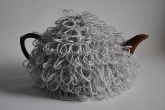 Loopy tea cosy knitted in silver grey mohair by KororaCrafters on Etsy