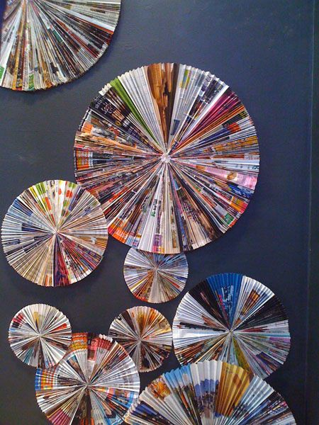 Color Paper Pinwheels in Recycled Magazines - Craft and DIY
