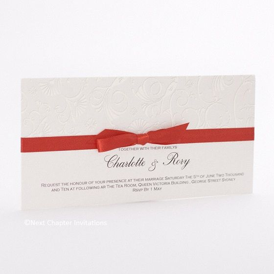 SCARLET PRIDE  A beautifully subtle combination of cream and pearl with an elegant scarlet satin bow. Includes matching envelope. Price: $3.95 https://www.facebook.com/NextChapterWeddingInvitations