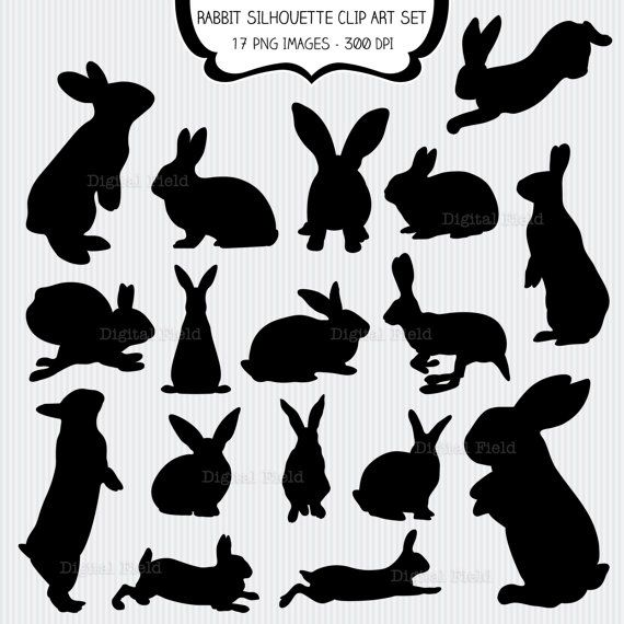 Rabbit Silhouette Clip Art Set - Easter bunny - printable digital clipart - instant download