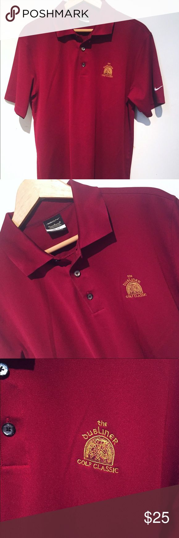 EUC Nike red polo shirt. Dubliner Classic. Size M EXCELLENT used condition. Men's red Nike Polo. Emblem is of the Dubliner Classic. Size Medium. Nike Shirts Polos