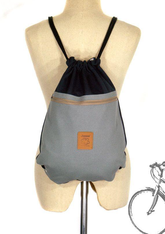 15% di sconto borsa di cordone [orig. 18.99] tela zaino due colore cotone borsa Laptop bag Navy & borsa a mano grigio