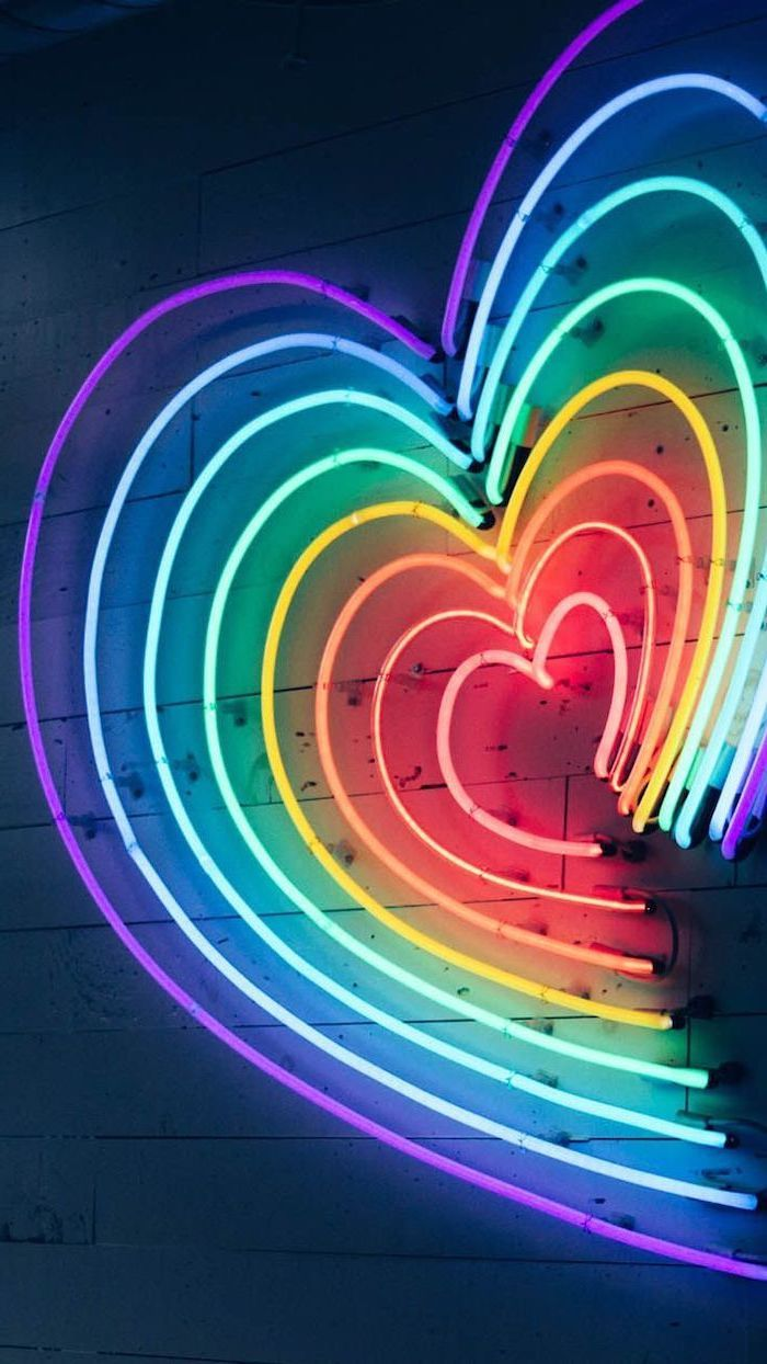 Heart Shaped Neon Lights In The Colors Of The Rainbow Aesthetic Phone Backgrounds Purple Blue Green Yell In 2020 Rainbow Aesthetic Aesthetic Wallpapers Phone Wallpaper