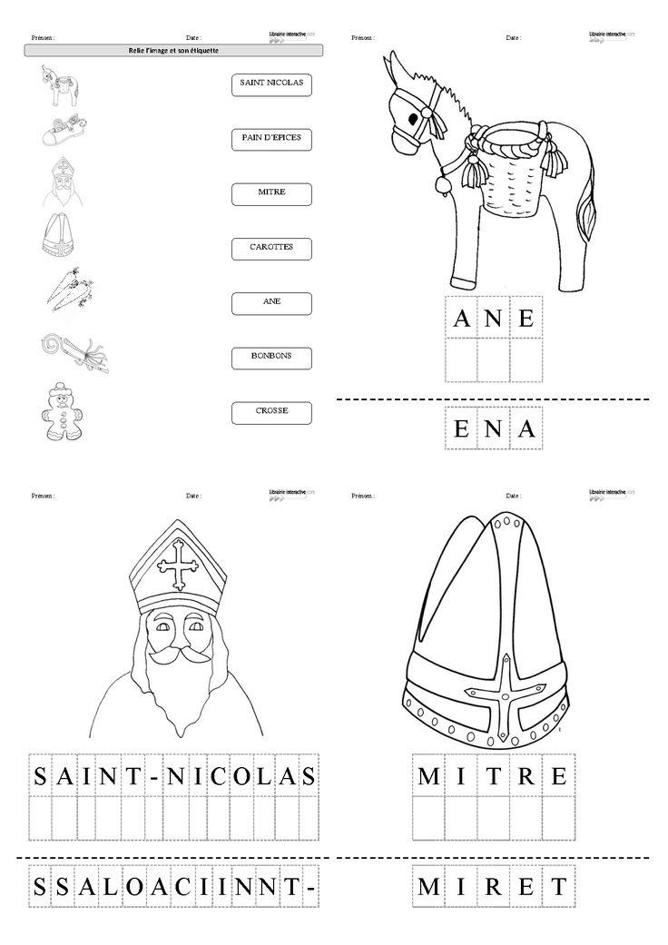 9 fiches pour la maternelle (PS, MS GS) pour découvrir, lire et écrire les mots du vocabulaire de l'histoire de Saint-Nicolas (âne, carotte, bonbons, mitre, crosse, enfant, père fouetard...)