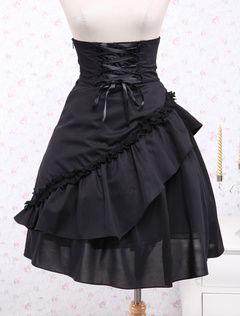 Черный полиэстер высокой талией короткие юбка Лолита зашнуровать слои