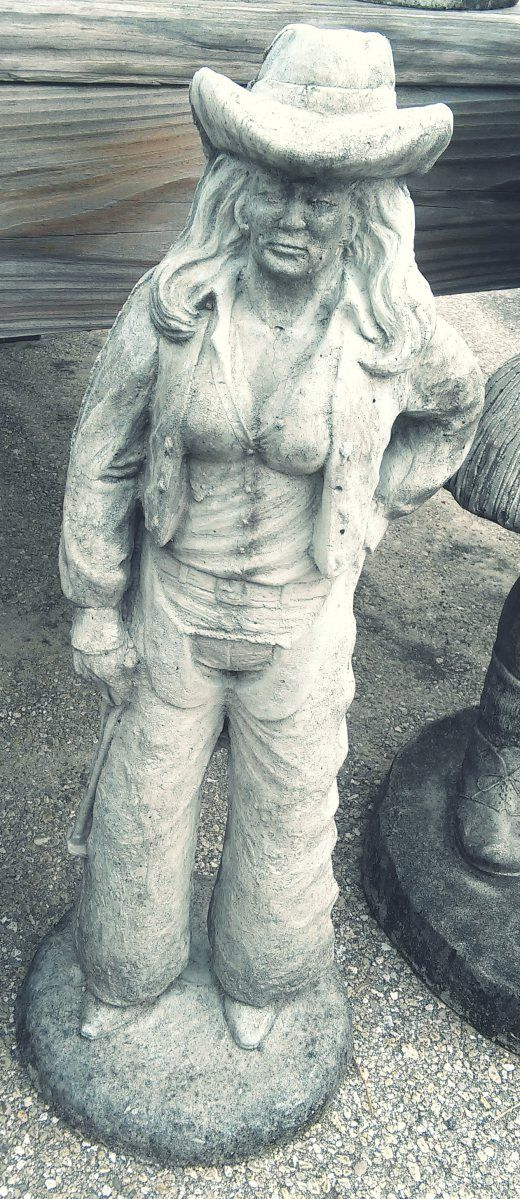 35 cowgirl concrete garden art in tallahassee florida for Landscaping rocks tallahassee fl
