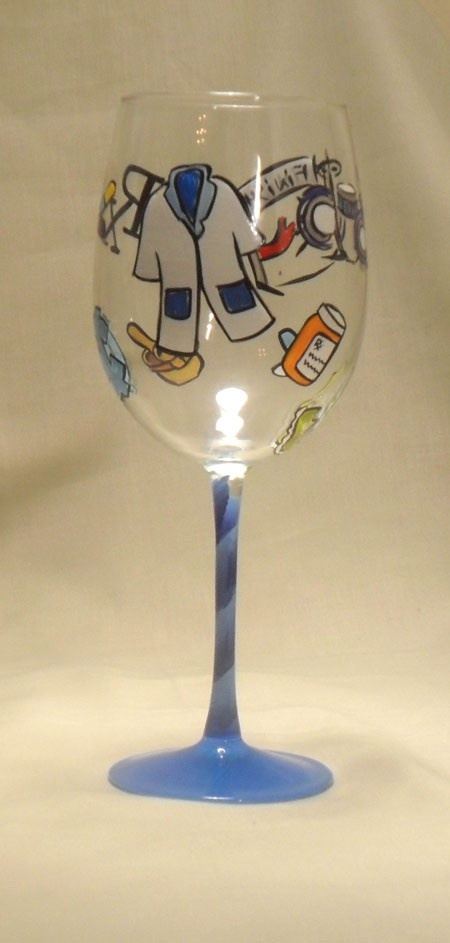 Pharmacist Theme Hand Painted Wine Glass, $40.00 (http://www.bybecca.com/pharmacist-theme-hand-painted-wine-glass/)