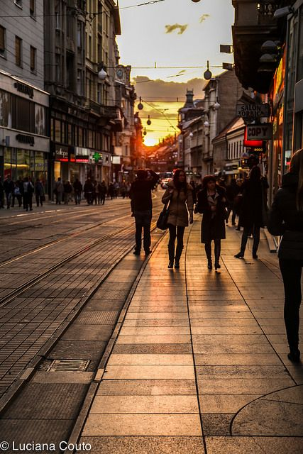 Zagreb street at sunset.