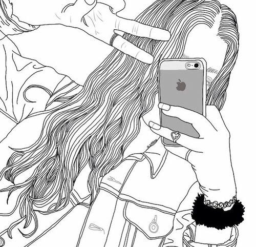 pomme, art, dessin, simplement, mode, favori, fille, grunge, cheveux, iphone, pacification, téléphone, tristement, style