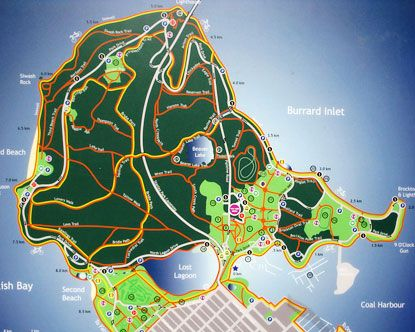 Stanley Park map- Easy to get lost here even with a map, but LOVED every bit of the time we spent here.