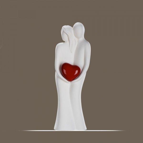 """Gilde Skulptur Paar """"Verstecktes Herz"""", 31 cm, creme-rot"""
