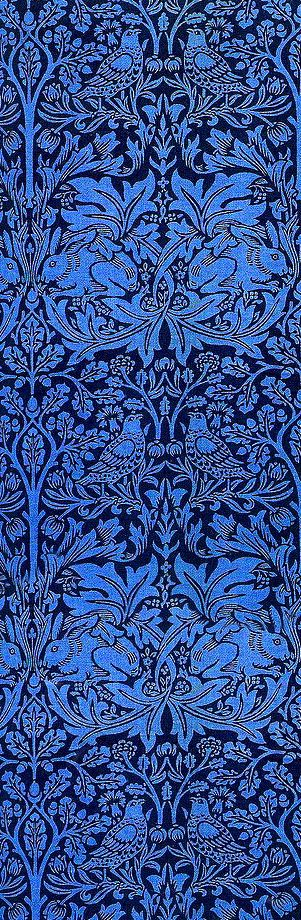 william Morrison This is one, of the most Superb patterns created by Morris. One of the names is Brother Rabbit ; the colour shown is unfortunate ,as it was designed to be made in a deep red. This colour must have been terribly manipulated.
