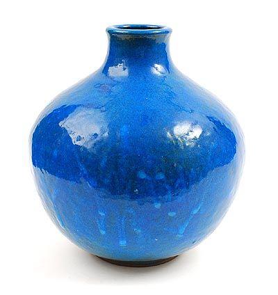 Deep blue glazed earthenware vase design Gert de Rijk 1945-2009 executed by t Bolwerk Utrecht / the Netherlands 1963-'70