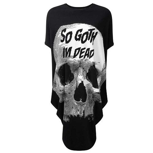 So Goth oversized tuniek jurk met schedel print zwart - Gothic - One size - Killstar