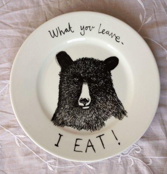 Hungry Bear side plate. $35.00, via Etsy.