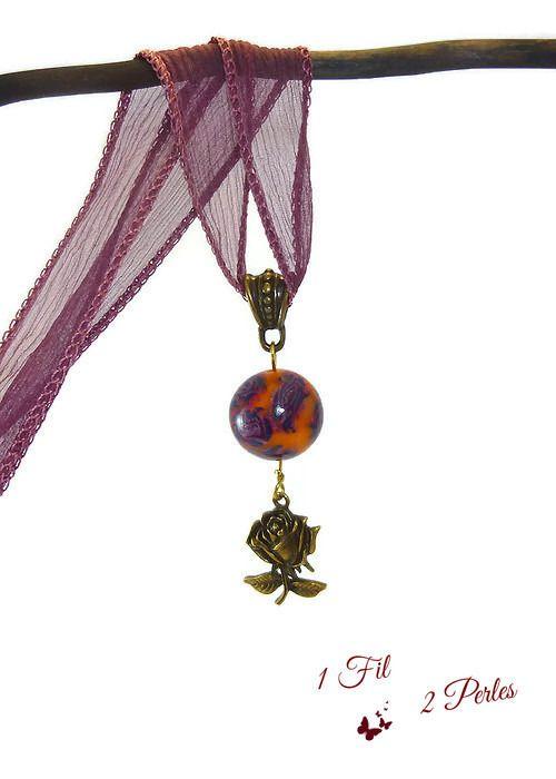 """Pendentif sautoir """"ROSA"""" perle argile polymère motif roses : Pendentif par 1-fil-2-perles"""