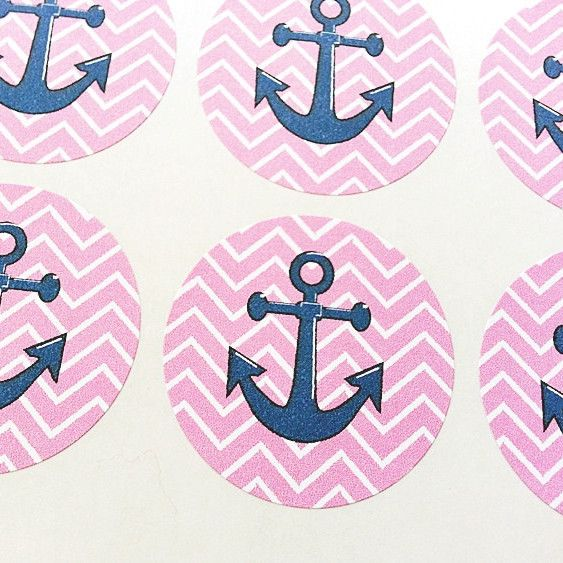 "Pack of 30 1.5"" round stickers printed with pink chevron pattern and an anchor image. These stickers are perfect for adding a fun touch to your birthday party invitations and favors. Details: - Pack o"