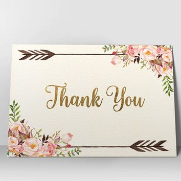 Floral Thank You Card Printable Thank You Card Boho Chic