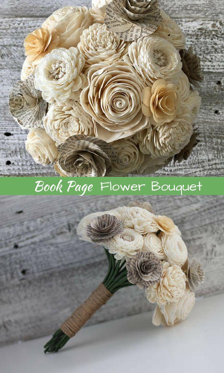 Book Page Flower Bouquet Sola Flower Bouquet Wedding Flowers