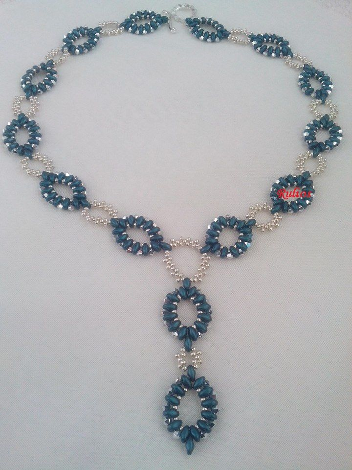 Blue super duos necklace by the one and only Rulios