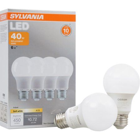 Sylvania LED Light Bulbs, 6W (40W Equivalent), Soft White, 4-count