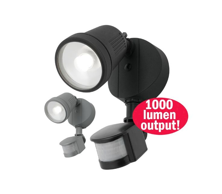 Otto+12w+LED+Single+Floodlight+with+Motion+Sensor+Outdoor+Black,+Silver+or+White+Mercator+MXD6711/SEN, $69.00