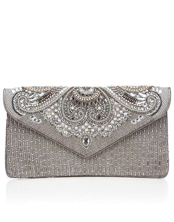 Kia Encrusted Clutch Bag | Silver | Accessorize