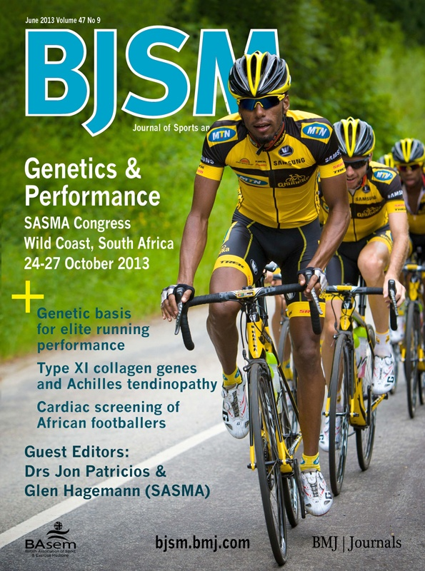 BJSM Volume 47 Issue 9 | June 2013 ~ Genetics & performance, SASMA Congress Wild Coast, South Africa 24-27 October 2013. This prestigious international event is hosted every 2 years by South Africa's national sports medicine body , SASMA. Our Association has a long and distinguished history of sports medicine and exercise science as well as a strong association with numerous international bodies.This year we introduce Exercise is Medicine™ into the fold, and are using this platform to launch…