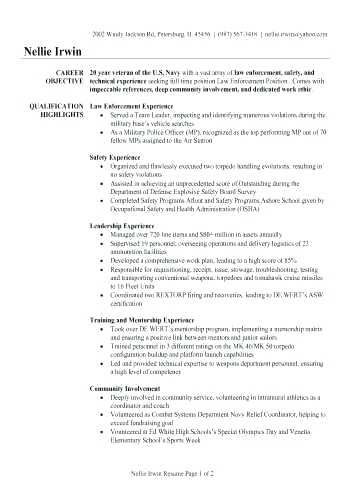 military veteran resume examples military resume of veteran ...