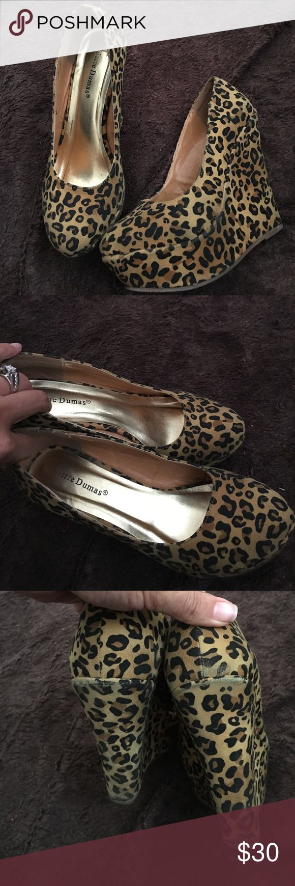 Leopard Print Wedges Fun and cute wedges... some wear on shoe from jeans rubbing. Please see pics . Priced accordingly Pierre Dumas Shoes Wedges