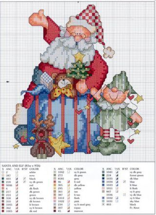 Pai Natal / Papai Noel - Esquemas de Ponto de Cruz