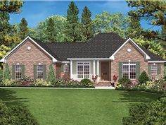 ePlans Ranch House Plan – Attractive Brick Ranch –1600 Square Feet and 3 Bedrooms from ePlans – House Plan Code HWEPL77582