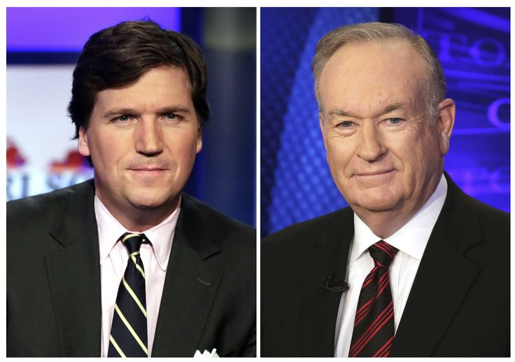 Tucker Carlson moved into Bill O'Reilly's old time slot at Fox News Channel and, on his first night Monday, took over his predecessor's status as the most-watched host in cable news.