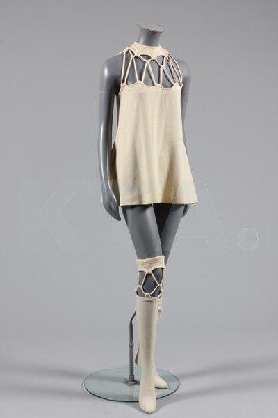 Rudi Gernreich mini-wedding dress and matching stockings, 1969.