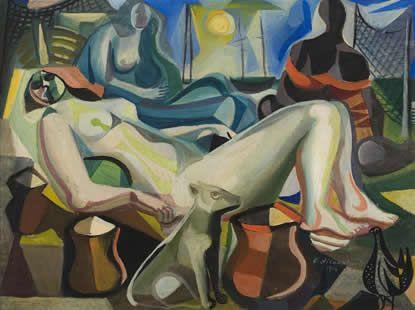 Mulher deitada e cachorro, 1954 / Di Cavalcanti