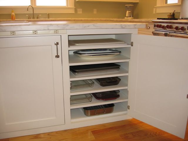 Kitchen Dreaming:: Smart Ideas-or you could have pull out drawers and they are in there own spot.. or a row instead of a stack