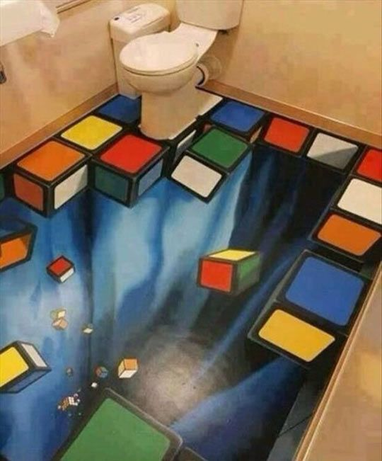 Watch your step when going to the toilet...
