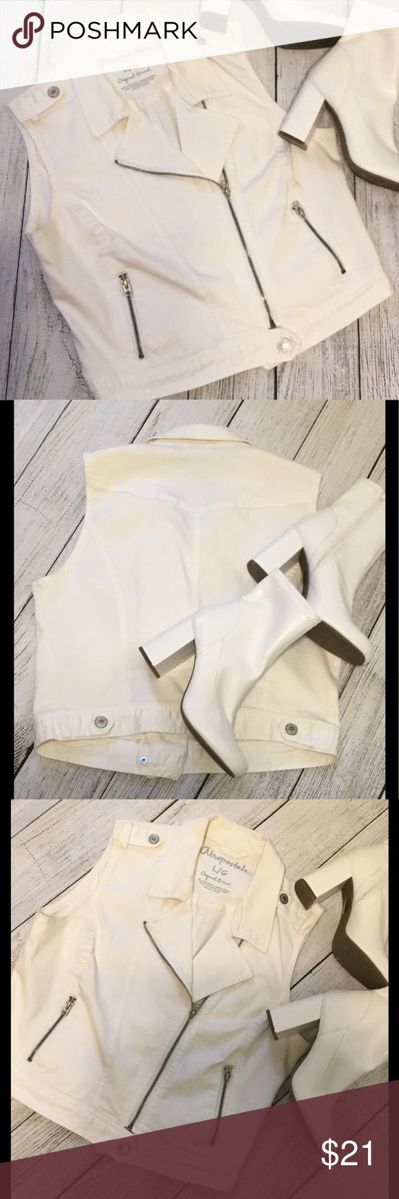 The Rock Star in You White Jean Vest with a Zipper front and 2 zipper pockets. Adjustable buttons at the bottom. Aeropostale Jackets & Coats Vests