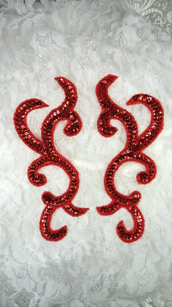 0396  Appliques Beaded Sequin Mirror Pair Sewing Motif Craft Patch Fuchsia 7/""