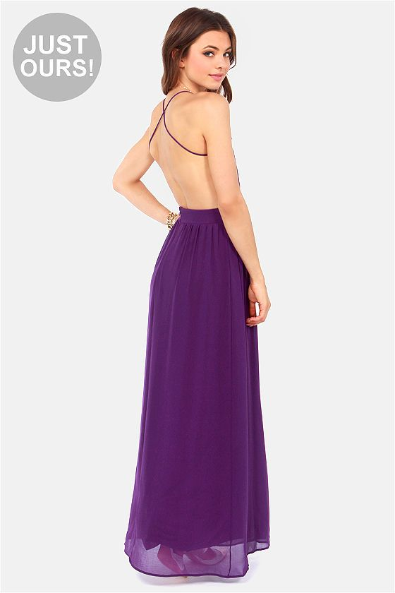9d6d5699637 Exclusive Rooftop Garden Backless Purple Maxi Dress
