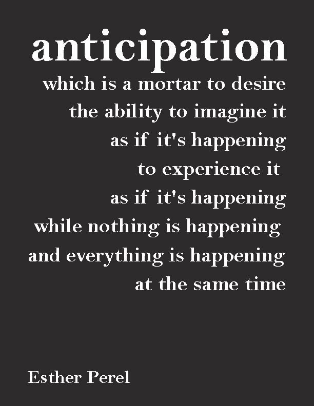 """anticipation, which is a mortar to desire the ability to imagine it as if it's happening, to experience it   as if it's happening, while nothing is happening and everything is happening   at the same time""— Esther Perel"