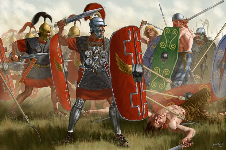 Roman legions battling against Gallic warriors
