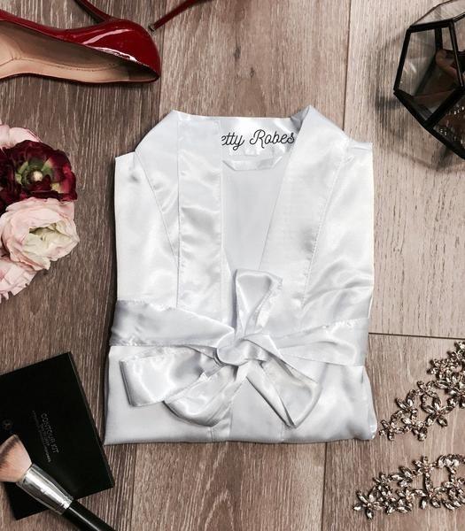 White Satin Kimono Robe - PrettyRobes.com