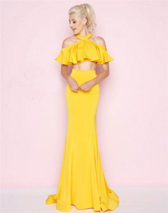 f4aa32169764 Charming Cold Shoulder Lemon Yellow Ruffle Two Piece Prom Dress   My ...