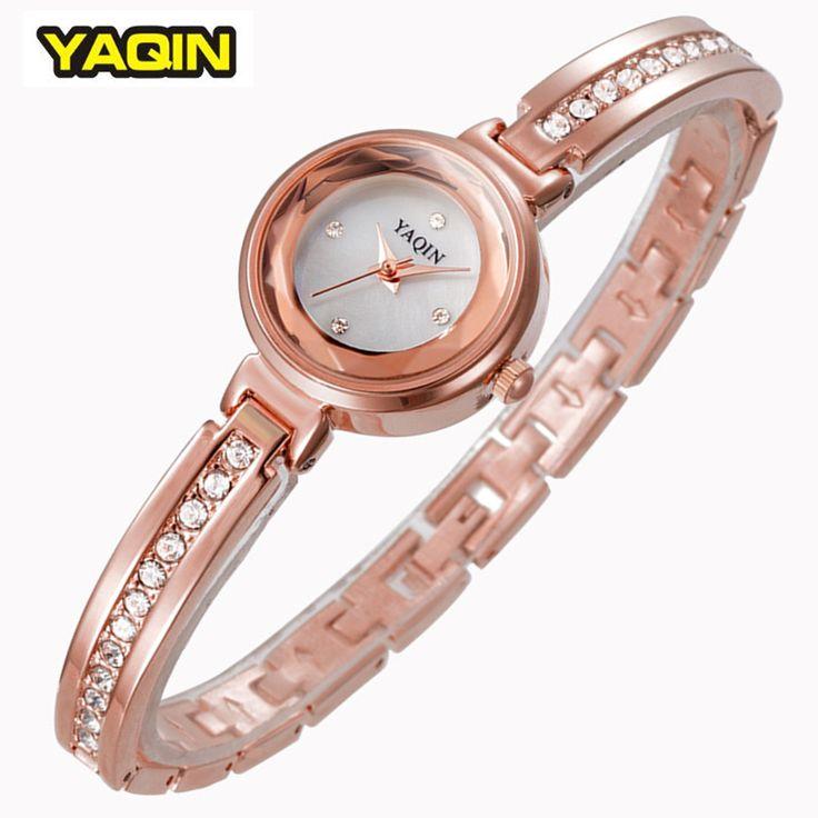 Luxury Brand YAQIN Женщины Горный Хрусталь Часы Тонкий Браслет Дамы Повседневная Часы Из Розового Золота Моды Наручные Часы Лето Часы Новый 2016
